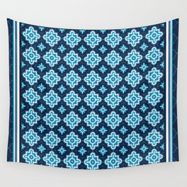 Blue Quatrefoil with Navy Background Wall Tapestry