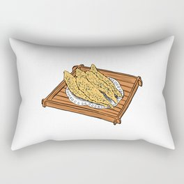 Illustration of a Japanese Snack - Fried Capelin Rectangular Pillow