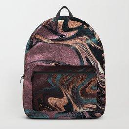 Metallic Rose Gold Marble Swirl Backpack
