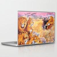 vegetarian Laptop & iPad Skins featuring vegetarian lion by Rose Rigden