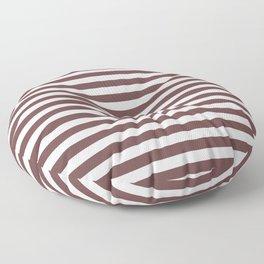 Pantone Red Pear & White Uniform Stripes Fat Horizontal Line Pattern Floor Pillow