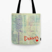 denver Tote Bags featuring Denver. by Artsy B