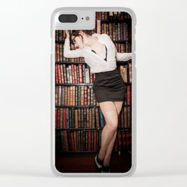 """""""Hot for Reading"""" - The Playful Pinup - Sexy Librarian Pin-up Girl by Maxwell H. Johnson Clear iPhone Case"""