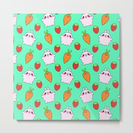 Cute funny Kawaii pink little baby bunnies, happy orange carrots and ripe juicy summer strawberries adorable lovely teal green fruity pattern design. Nursery decor ideas. Metal Print