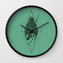 Geometric Crow in a diamond (tattoo style - black and white version) Wall Clock