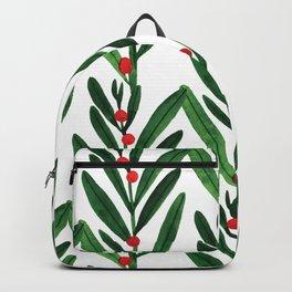 Trendy green red pink watercolor leaves berries pattern Backpack