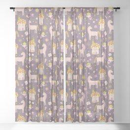 Fairytale Forest Fairy Toadstool House Unicorn Sheer Curtain
