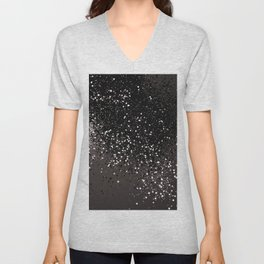 Blush Gray Black Lady Glitter #2 #shiny #decor #art #society6 Unisex V-Neck
