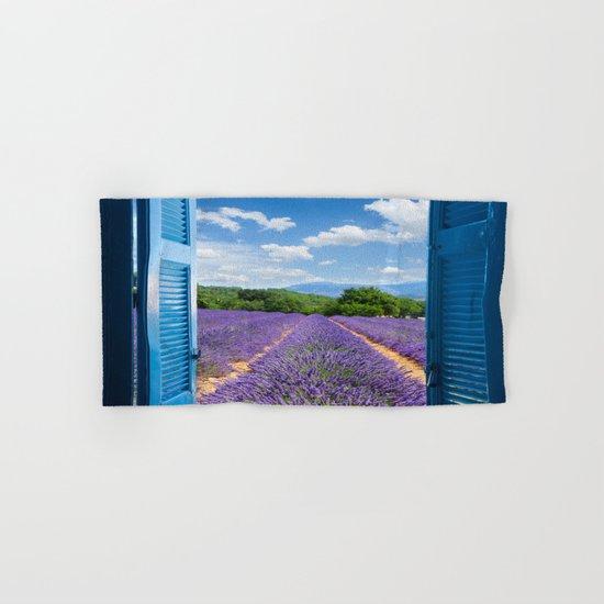 wooden shutters, lavender field Hand & Bath Towel