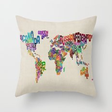Typography Text Map of the World Throw Pillow
