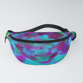psychedelic geometric polygon pattern abstract in pink purple blue Fanny Pack