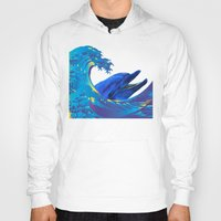 hokusai Hoodies featuring Hokusai Rainbow & Dolphin by FACTORIE