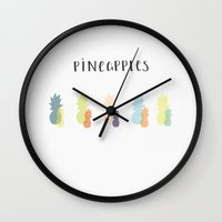 pineapples Wall Clocks featuring Pineapples by emmabjoerklund