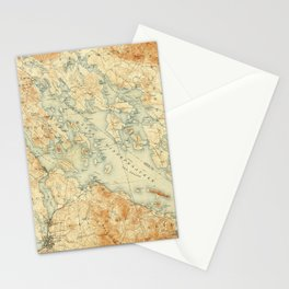 Vintage Map of Lake Winnipesaukee (1907) Stationery Cards