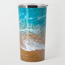 top view of orange beach with white small waves Travel Mug