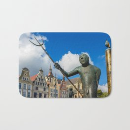 Sculpture on a place in Rostock Bath Mat