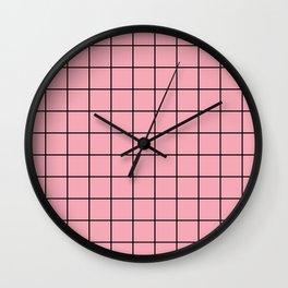 Pink Grid Wall Clock