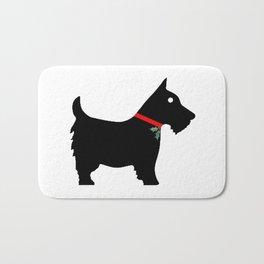 Black Scottiedog Scottish Terrier with Christmas Holly Bath Mat