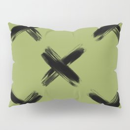 'X' Pattern - black / olive Pillow Sham