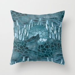 Moonlight Story (Teal) Throw Pillow