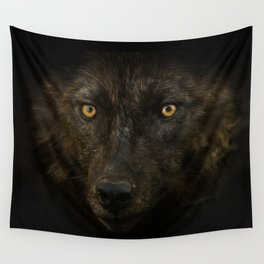 Black Wolf Wall Tapestry