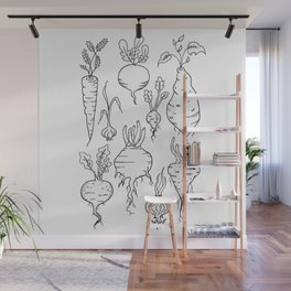Root Vegetable Study Illustration Wall Mural