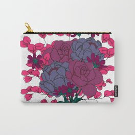 Pink and Purple Floral Bouquet Carry-All Pouch