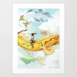 Korra and Spirits Art Print