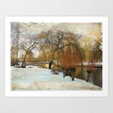Winter by the riverbank Art Print