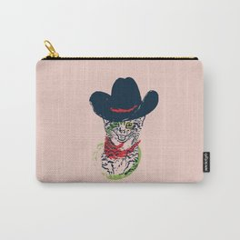 Grunge portrait of a cat in a cowboy hat Carry-All Pouch