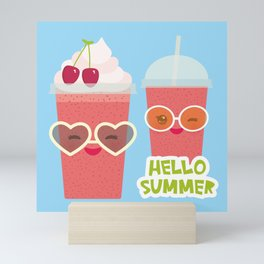 Hello Summer Kawaii cherry smoothie Mini Art Print