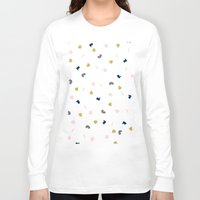 novelty Long Sleeve T-shirts featuring Modern pastel pink navy blue gold glitter confetti by Girly Trend