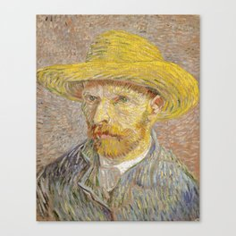 Self-Portrait with Straw Hat Canvas Print