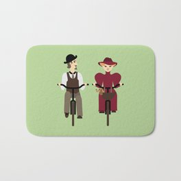 Retro cyclists. Summer Bath Mat