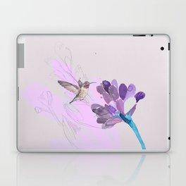 Hummingbird with purple flower watercolor Laptop & iPad Skin