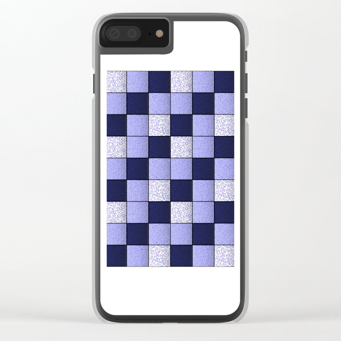 Blue Spotty Tiles Clear iPhone Case