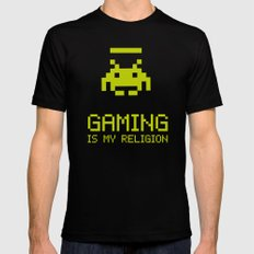 Gaming is my religion X-LARGE Black Mens Fitted Tee