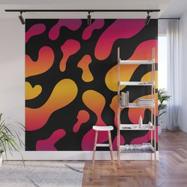 Lovely abstract bold shapes on black background stylish modern print  pattern design. Wall Mural