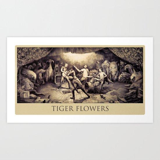 Tiger Flowers Art Print