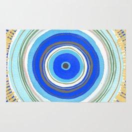 Turquoise Evil Eye Mandala Rug
