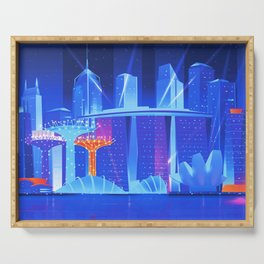 Synthwave Neon City #23: Singapore Serving Tray