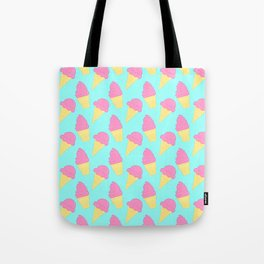 Pink Ice Cream on Blue Tote Bag