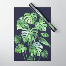 Delicate Monstera Blue #society6 Wrapping Paper