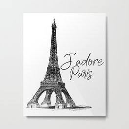 TYPOGRAPHIC ART - J'adore Paris, Paris, Typography Wall Art, Printable Art Metal Print
