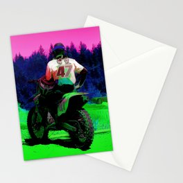 Checking the Track - Motocross Racer Stationery Cards
