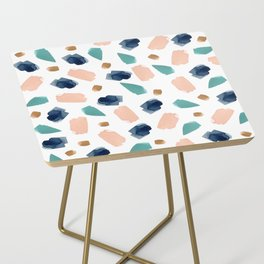 turquoise, navy, pink & gold Side Table