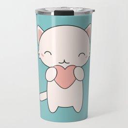 Kawaii Cute Cat With Hearts Travel Mug