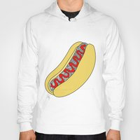 hot dog Hoodies featuring Hot Dog by Amber Lily Fryer