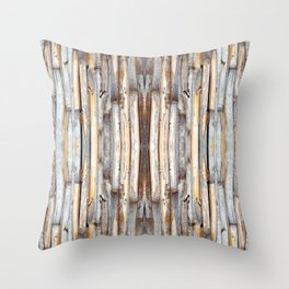 fence at the house of bamboo stems Throw Pillow
