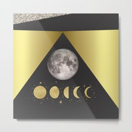 Elegant Abstract Gold Moon Phases Metal Print